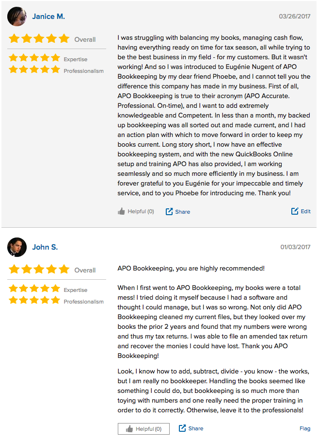 APO Bookkeeping Review